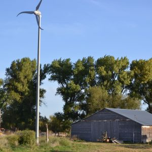 View of shop & wind generator