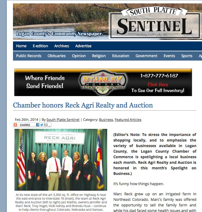 Reck Agri, South Platte Sentinel, Land auctions, real estate, sterling, colorado